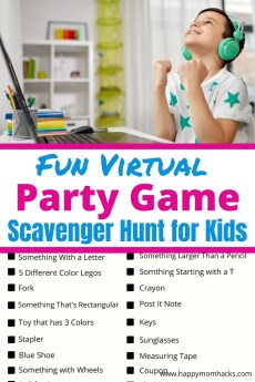 Fun Virtual Party Games for Kids - Zoom Scavenger Hunt Clues & Ideas. How to host an energetic scavenger hunt for kids at virtual birthday parties, zoom classrooms or Holiday parties. Kids will love it! Free printable too. #scavengerhuntforkids #virtualparty #zoomparty #freeprintable #virtualbirthdayparty #classroomparty #virtualgame