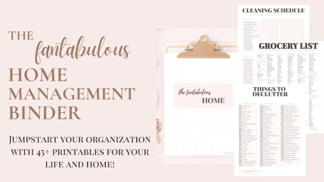 Get Organized at Home with this simple Home Management Binder. 45 Printouts of everything a mom needs to stop the chaos at home and get organized. Make your life less stressful by having everything in one place. #organizaiton #organized #moms