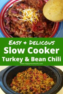Best Slow Cooker Turkey Chili Recipe. Super easy thick and hearty crockpot chili recipe for weeknight dinners or super bowl parties. Bursting with flavor this turkey and bean chili will quickly become your favorite comfort food. #chili #crockpot #slowcooker #turkey