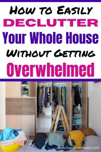 How To Declutter Your Home without getting overwhelmed. Simple room by room guide on where to start decluttering, what to get rid or and how to organize when your done. Use the free printable decluttering your home checklist to get started. Find out how quick and easy it can be using this decluttering guide! #decluttering #declutteringhome #declutterroombyroom #declutteringtips