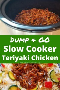 Easy Slow Cooker Teriyaki Chicken Recipe with only 4 ingredients. This quick dump & go crockpot dinner will become your go to weeknight meal. You can make 2 different meals - teriyaki rice bowls or yummy teriyaki chicken sandwiches. Add this to your cooking rotation on nights you don't want to cook. #teriyakichicken #crockpot #slowcooker