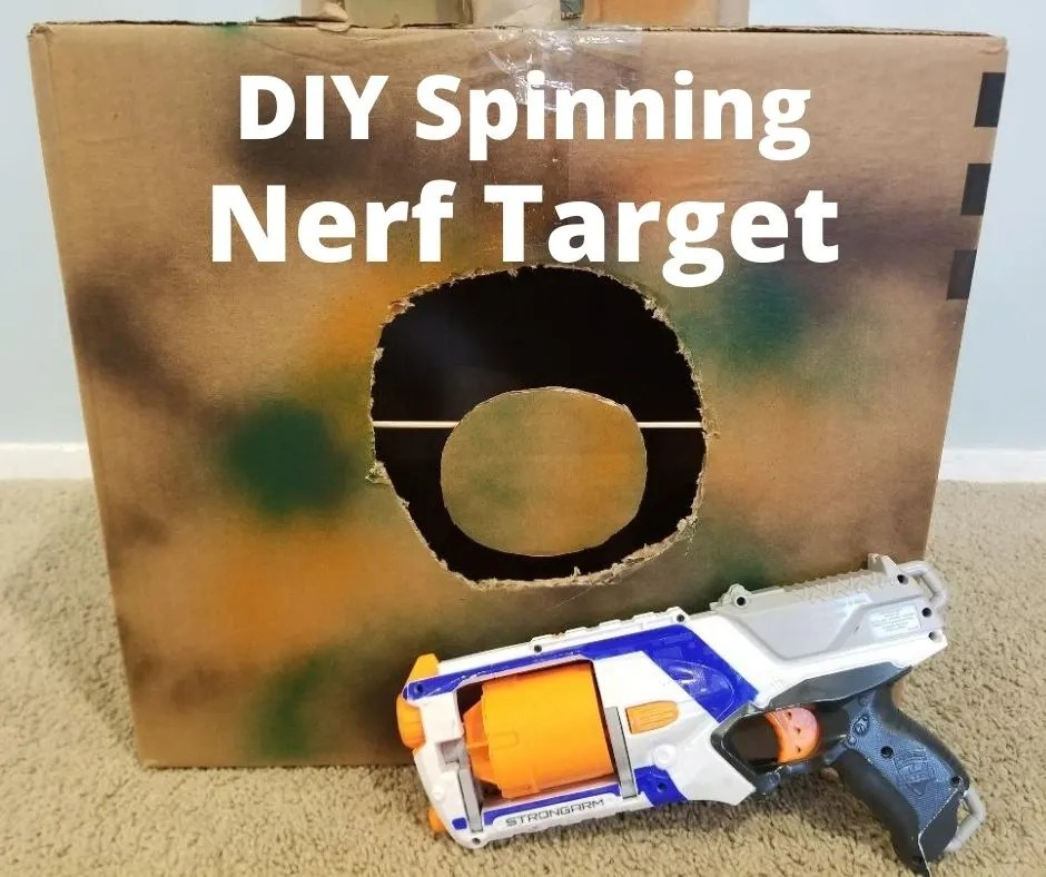 Fun DIY Nerf Targets that Spin. Kids will love this easy to make cardboard toy for Nerf target practice at home.