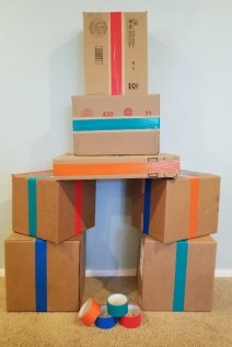 DIY Cardboard Building Blocks for Kids. Make a fun indoor activity for kids by turning all your cardboard boxes into cool building blocks. Perfect for rainy days at home.