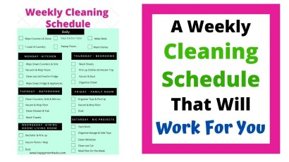 Free Printable Weekly Cleaning Schedule to get you organized at home. Clean every room in your house without getting overwhelmed.