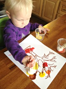 Shelby painting her leaves
