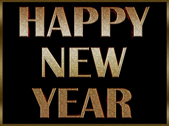 Happy New Year Golden Letters Greeting Wallpaper
