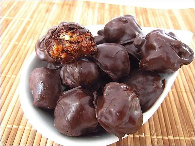 bouchées chocolat caramel noisettes amandes
