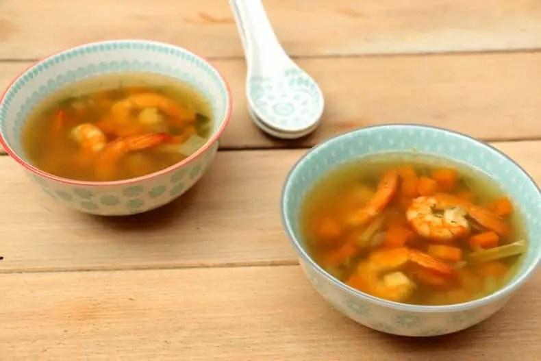 recette bouillon de crevettes thai citronnelle coriandre