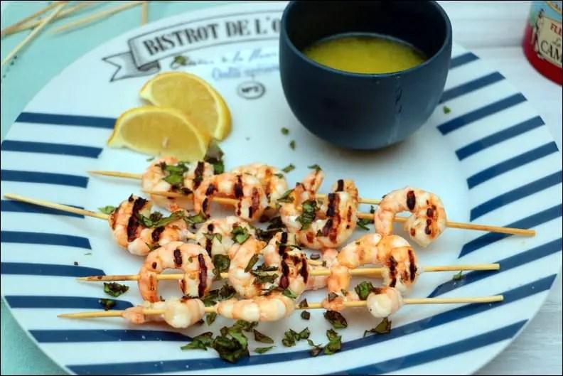 crevettes marinées ail citron vert