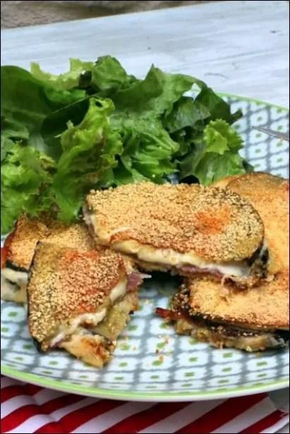croque aubergine jambon fromage