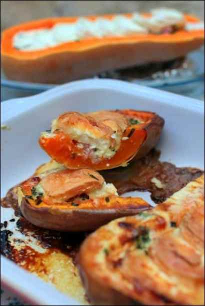 butternut farcie lardons