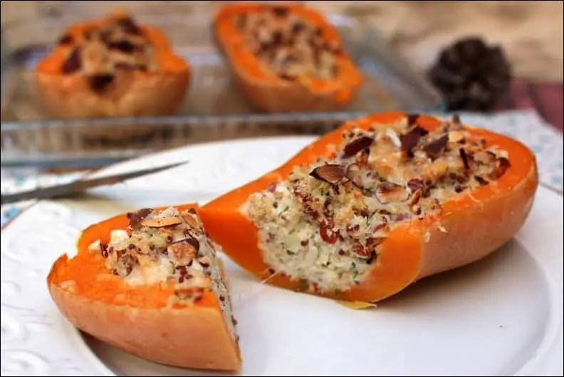 courge butternut gratinée et farcie au chèvre et quinoa