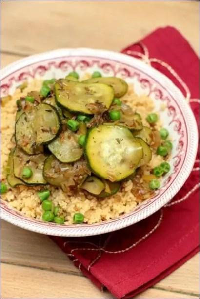 couscous vegetarien courgettes petits pois