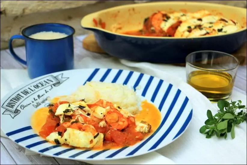crevettes à la tomate et à la feta