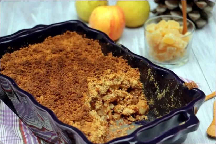 crumble de pommes et poires gingembre et noix de pécan
