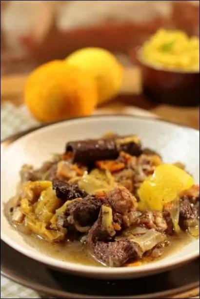 daube de bœuf au vin rouge, agrumes et aux épices