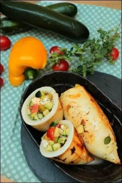 recette d'encornets farcis aux legumes