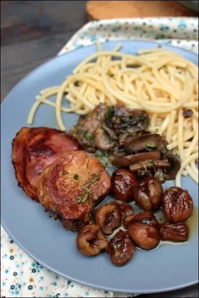 Filet mignon de porc au cidre châtaignes et champignons persillés
