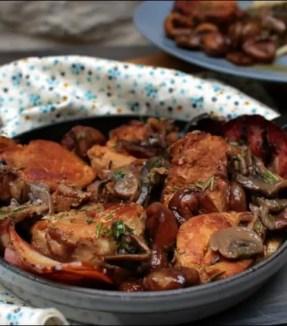 Filet mignon de porc au cidre châtaignes et champignons
