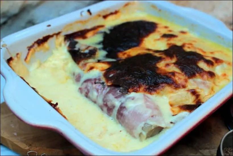 endive jambon en bechamel gratinée