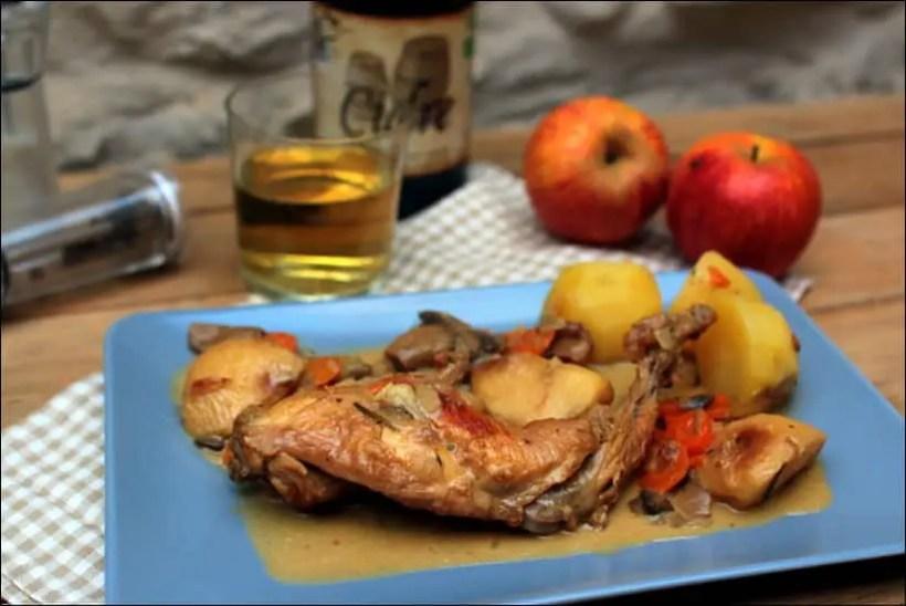 lapin au cidre pomme crème fraîche et champignons