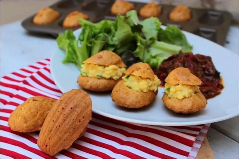 madeleines salées oeufs brouillés