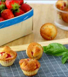 muffins fraises et basilic