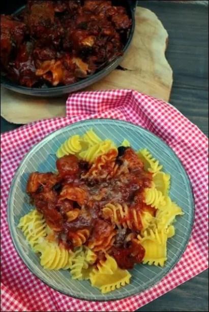 pates queue de boeuf sauce tomate