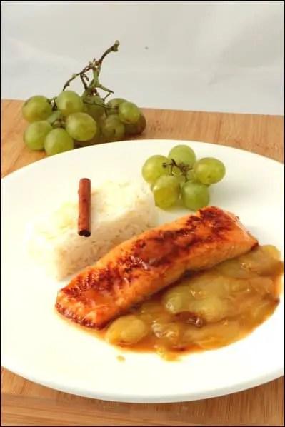 pavés de saumon raisin