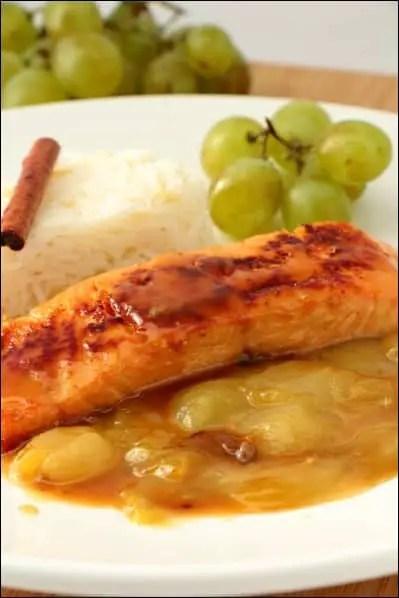 saumon raisin vin blanc