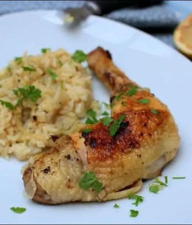 poulet à la grecque et son riz citronné