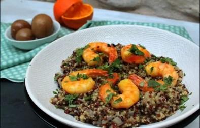risotto de quinoa au citron confit et crevettes caramélisées