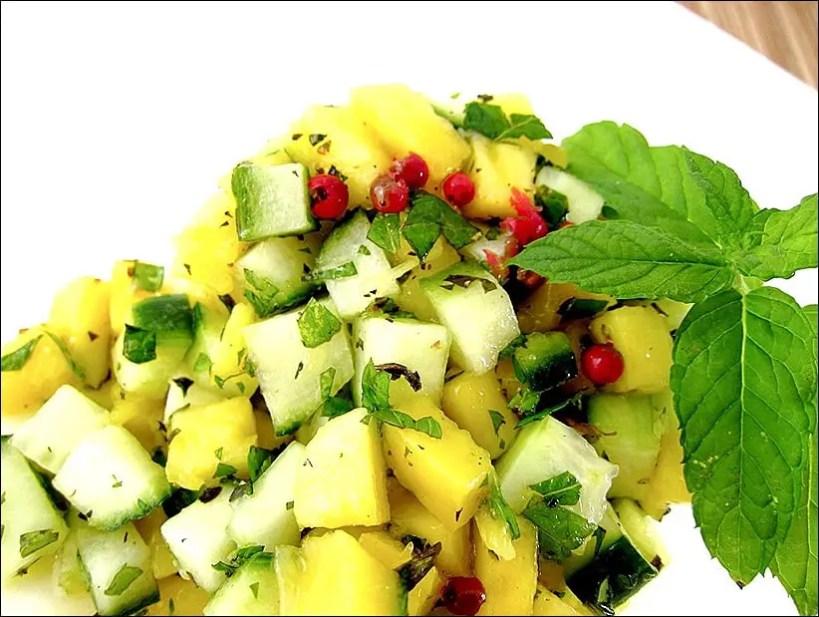 salade mangue concombre menthe