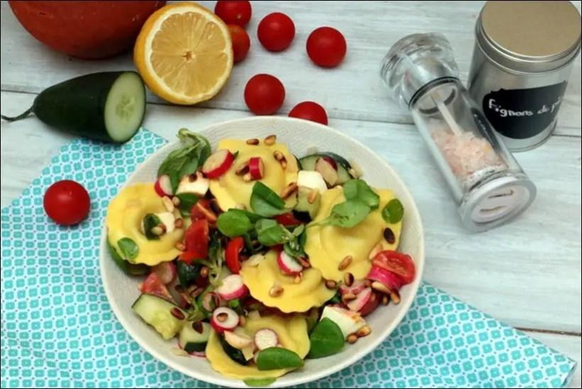 salade ravioli tomate concombre