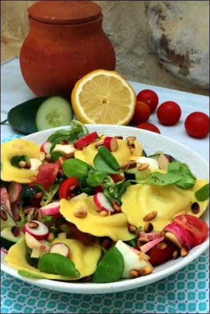 salade ravioli mozzarella
