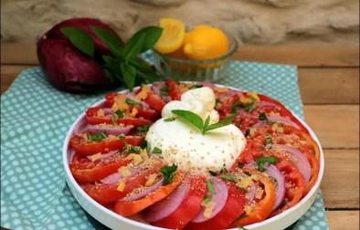salade de tomates au citron confit et burrata