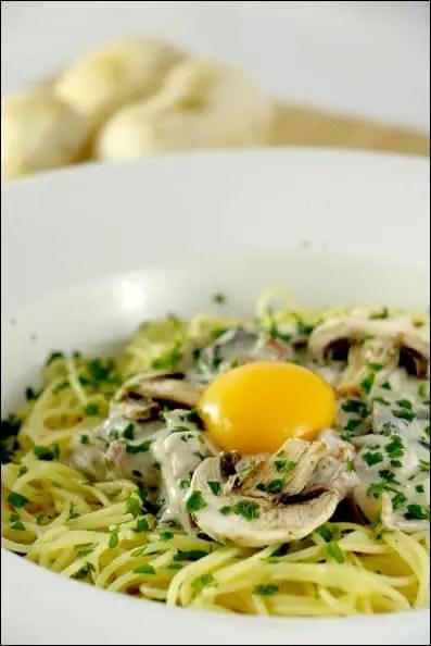 spaghetti carbonara champignons