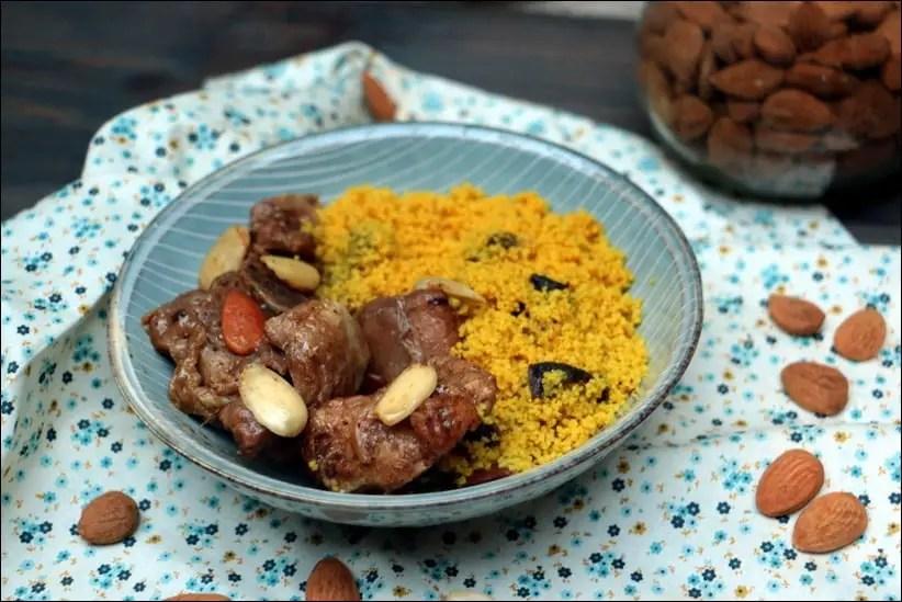tajine de dinde aux amandes et boulgour aux fruits secs