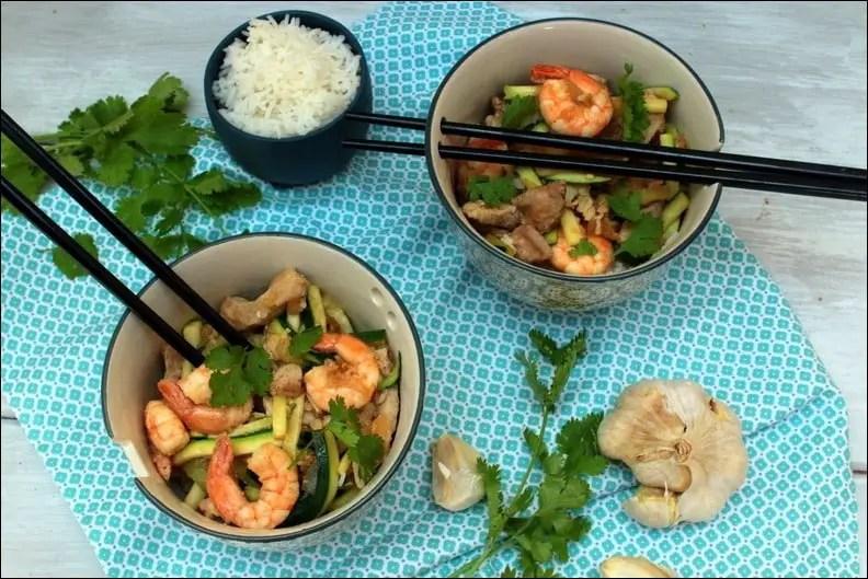 Wok de porc aux crevettes et langoustines
