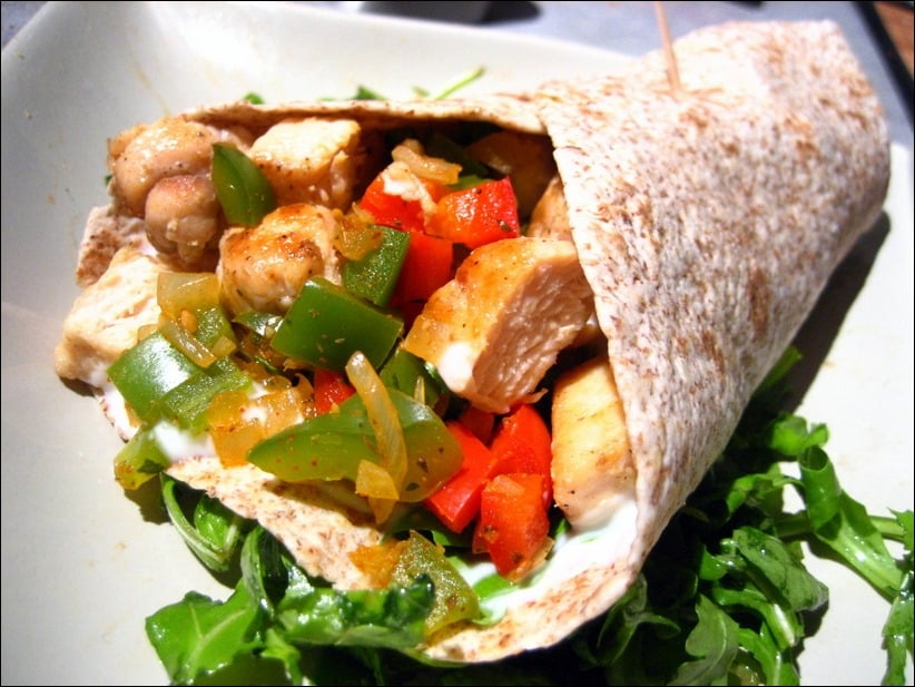 wraps poulet poivrons guacamole
