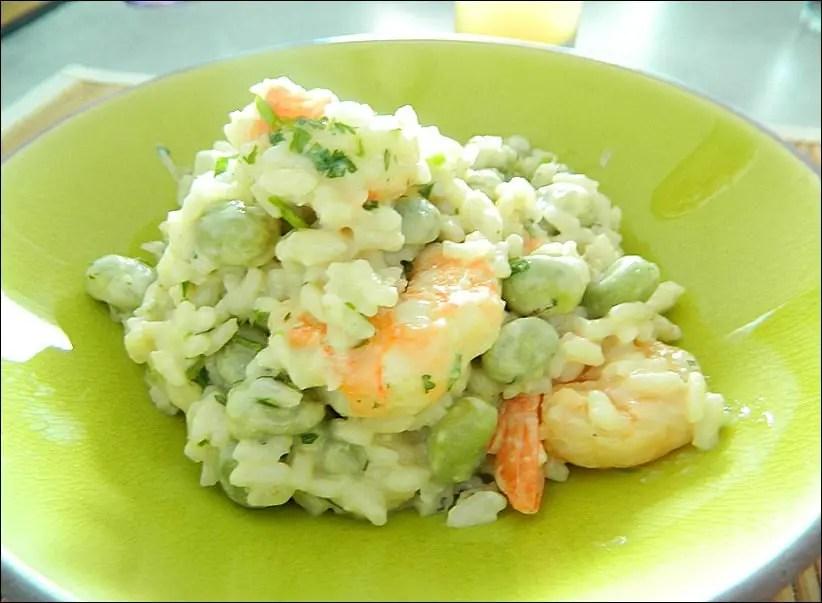 risotto aux gambas fèves et lait de coco
