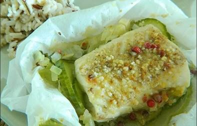 papillotes de cabillaud au concombre et fromage blanc