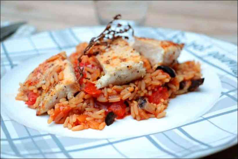 poulet riz tomate olives