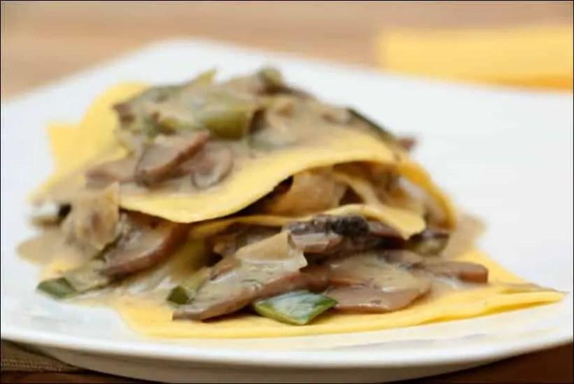 lasagnes poireaux champignons