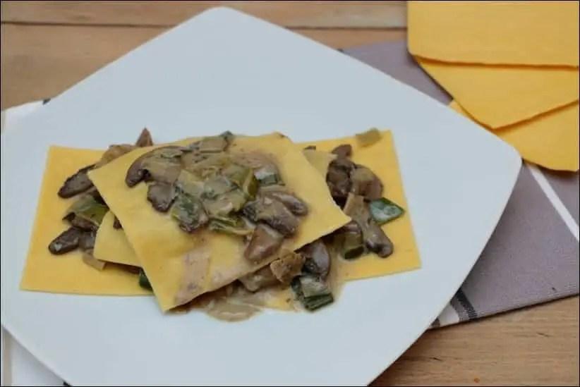 lasagnes poireau et champignon