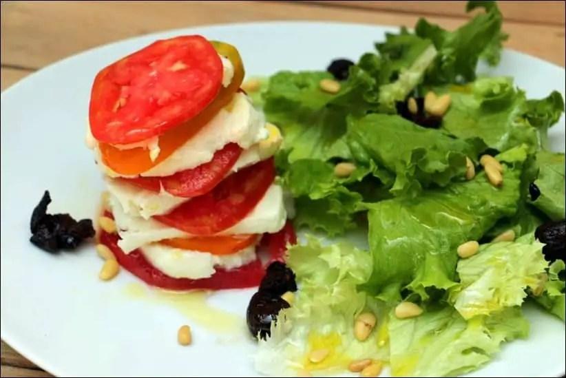 millefeuille de tomates à la mozzarella