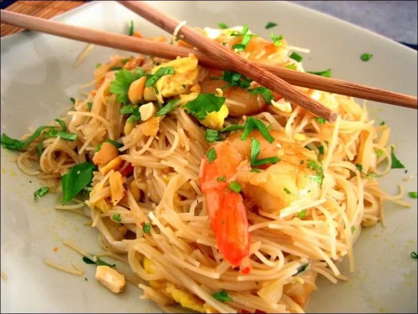 pad thai crevettes oeuf