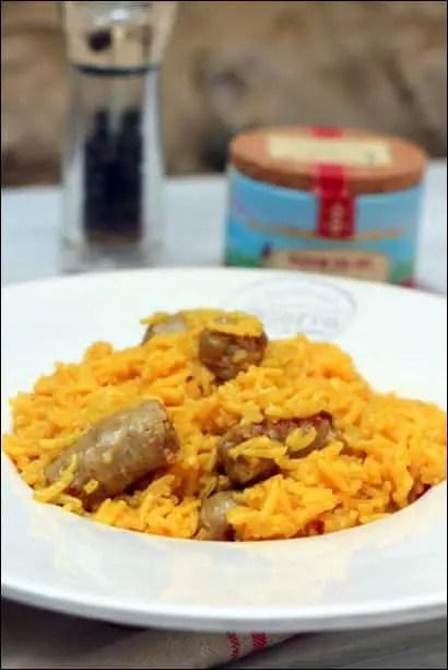 riz pilaf chipolatas