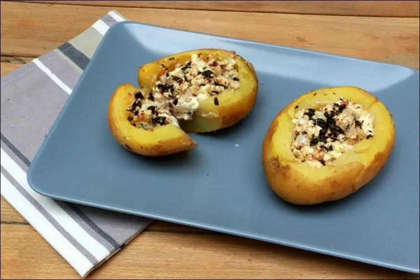 pommes de terre farcies à la feta et olives noires