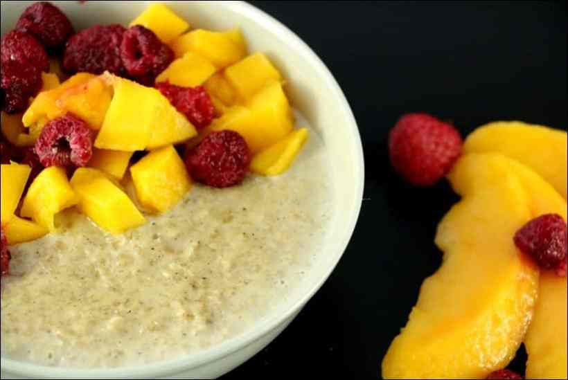 porridge mangue framboises